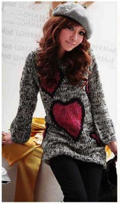 Women's Sweeateheart Knitted Sweater Gray on BuyTrends.com, only price $13.99