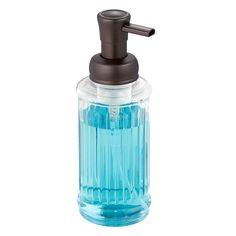 InterDesign Ella Foaming Soap Dispenser Pump, for Kitchen or Bathroom Countertops - Clear/Bronze