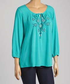Another great find on #zulily! Emerald Tribal Peasant Top - Plus by Simply Irresistible #zulilyfinds
