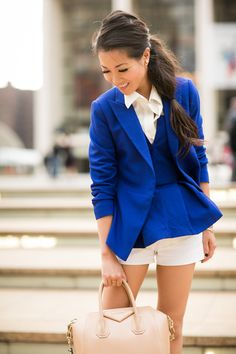 Layer a jacket or blazer over a corset top in the same color/fabric. Via Wendy's Lookbook
