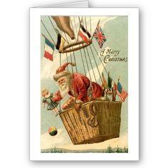 Christmas Santa in Hot Air Balloon Cards