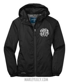 Monogrammed Black Eddie Bauer Jacket from Marley Lilly. They also monogram the hood.....love
