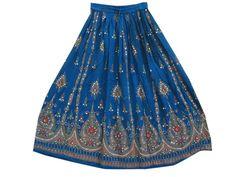 Long Skirt Catalina Blue Gypsy Fashion Skirt for Women $24.99