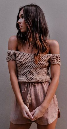 #summer #outfits Mocha Off The Shoulder Crochet Top + Pink Short