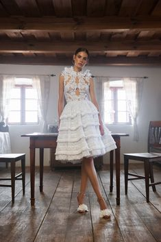 Style FLK White macramé lace appliqué on mesh bodice with lace shoulder detail and keyhole mesh back from Daalarna Bridal Fall Organza Dress, Chiffon Skirt, Lace Bodice, Lace Skirt, Crochet Lace Dress, Floral Lace Dress, Bridal Collection, Dress Collection, Bridal Dresses