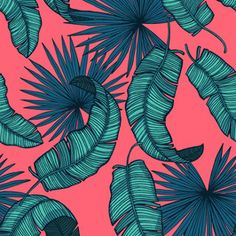 Tropical Leaves Bright. Vector.