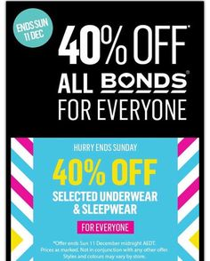 40% off all Bonds stock as well as  selected #sleepwear and #underwear Thx @thekidzcurator