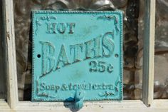 aqua+colored+cottage+decor   Hook Sign/ Wall Decor/ Storage/ Shabby Chic Bath Aqua painted sign ...