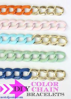 For #coachella DIY Chunky Color Chain Bracelets