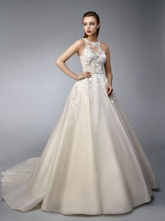 Pretty and polished, this full-length, A-line gown is made of sleek organza embellished with sweet floral embroidered lace and corded lace that drapes down from the sexy, unlined bodice with an illusi . Bridal Dresses, Wedding Gowns, Wedding Blog, Wedding Reception, Lace Wedding, Dream Wedding, Vows Bridal, Bridal Salon, Romantic Wedding Colors