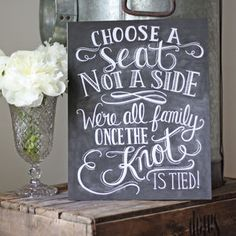 Choose A Seat Not A Side Wedding Ceremony Print - outdoor decorations
