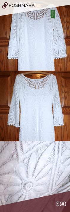 "Lilly Pulitzer White Dress NWT Never worn white dress. I had purchased this dress and another white dress from Lilly for my bridal shower. I ended up wearing the other one instead, so I decided to sell this one. Size 2, 33.5"" length shoulder to bottom hem. Lilly Pulitzer Dresses Mini"