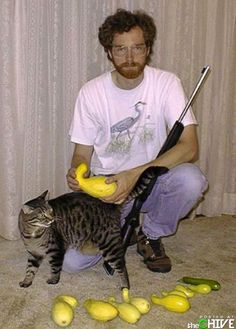 I don't even know where to start with this picture. That's some wicked squash you've got there. Did you go out with your gun and force the cat to pick it? Does anyone else know what is going on here?
