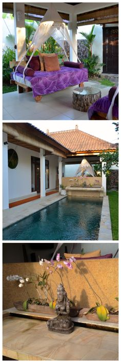 Villa Romantica is a modern Balinese two bedroom / two bath villa set in the rice fields of Penestanan. Balinese Interior, Bali House, Ubud, Two Bedroom, Spas, Water Features, Villas, Buddha, Tourism
