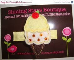CIJ - Christmasinjuly - Felt Hair Clips - Girls Hair Clippies - Sweet Treat Maize Yellow Ice Cream Cone With Rhinestones Hair Clippie on Etsy, $2.45