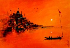 New House Illustration Gouache Ideas Watercolor Landscape, Landscape Art, Landscape Paintings, Watercolor Paintings, Drawing Sunset, Shiva Art, Ganesha Painting, Indian Art Paintings, Sketch Painting