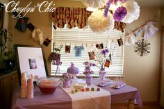 Clothes line of baby clothes for purple Loving Lavender Baby Shower