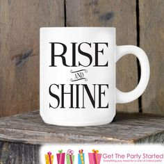 Rise and Shine Coffee Cup Simple Coffee Mug Cute Coffee Mug Coffee... ($13) ❤ liked on Polyvore featuring home, kitchen & dining, drinkware, drink & barware, home & living, mugs, silver, coffee cup, ceramic mugs and ceramic coffee mugs