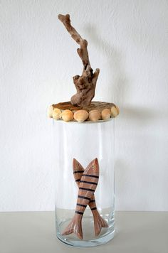 Deko-Objekte - Glas-Bonboniere mit Treibholz-/Muscheldeckel - ein Designerstück von manunatura bei DaWanda