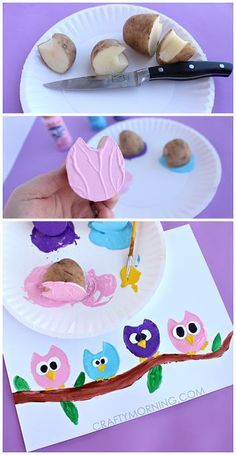 Potato Print Owl Craft for Children - Crafty Morgen - Juna Rosenfeld - . - Potato Print Owl Craft for Children – Crafty Tomorrow – Juna Rosenfeld – - Kids Crafts, Owl Crafts, Animal Crafts, Summer Crafts, Toddler Crafts, Crafts To Do, Projects For Kids, Diy For Kids, Arts And Crafts