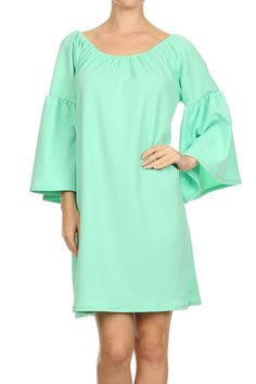 #20413-790 Solid color, kimono sleeve, oversize, shift dress with optional off shoulder wear.