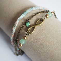 Bracelet 3 rangs vert menthe