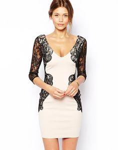 vestido fiesta ajustado con manga de encaje y detalle de cintura de Michelle Keegan Loves Lipsy 92.86 ASOS
