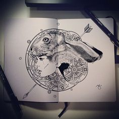 """Here's a great #penandink #AliceInWonderland #drawing by Joseph Catimbang (@josephcatimbang on Twitter). Entitled """"In Wonderland"""" Joseph (@pentasticarts) drew this #illustration in his Airship #Sketchbook. The #WhiteRabbit hat is a little freaky but the #texutre of the fur is really quite amazing. Everyone should go check out more of the awesome #artwork by this #AirshipArtist!"""