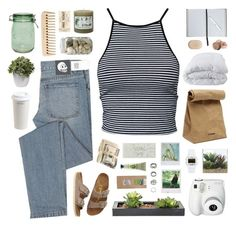 """""""1965"""" by eleanorcalder922 ❤ liked on Polyvore featuring Estradeur, Cheap Monday, The Body Shop, Mr. Coffee, Jil Sander, Nearly Natural, Birkenstock, Soft-Tex, Polaroid and Lux-Art Silks"""