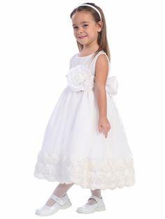 White Blossom Tulle Dress Floral Ribbon Edge Detachable Sash & Flower