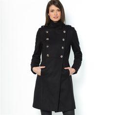 Manteau militaire col montant 50 laine