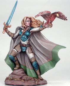 Female Ranger with Falcon and Long Sword - Visions in Fantasy - Miniature Lines