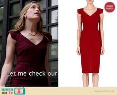 Annie's burgundy v-neck cap sleeve dress on Covert Affairs.  Outfit Details: http://wornontv.net/35318/ #CovertAffairs