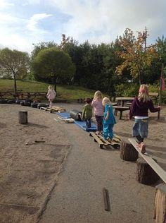 "Great balancing activity outdoors at Ekuddens förskola, Bubblan ("",)"