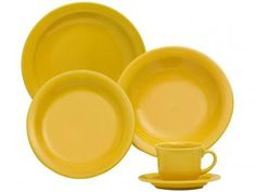 Aparelho de Jantar Floreal Yellow 20 Peças - Oxford