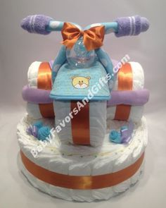 Baby shower gift ideas - Tricycle diaper cake http://babyfavorsandgifts.com/tricycle-diaper-cake-base-p-300.html