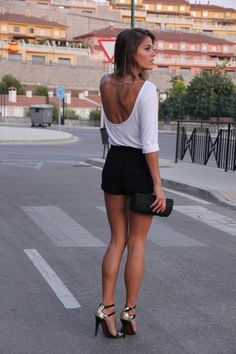 Going out. Black shorts. Low back top. Heels.