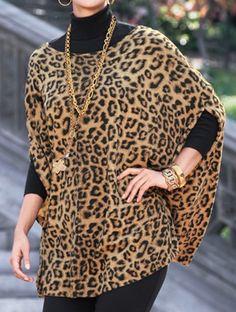 Love this-Chico's Animal Chianti Cape Animal Print Outfits, Animal Print Fashion, Fashion Prints, Animal Prints, Fashion Over 50, Look Fashion, Autumn Fashion, Womens Fashion, Mantel