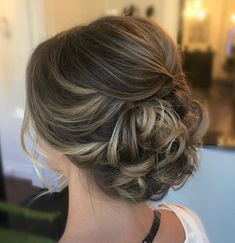 Easy Hairstyles Low Curly Updo with a Small Bouffant.Easy Hairstyles Low Curly Updo with a Small Bouffant Curly Hair Styles, Medium Hair Styles, Hair Medium, Medium Curly, Medium Hair Wedding Styles, Updo Styles, Hair Dos For Wedding, Up Dos For Weddings, Trendy Wedding