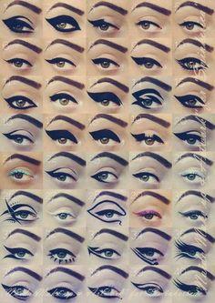 Naida Make up and Artwork.that would take a whole lot of practice and lots of eyeliner+eye makeup remover :P Love Makeup, Makeup Inspo, Makeup Inspiration, Makeup Tips, Beauty Makeup, Makeup Looks, Hair Beauty, Makeup Ideas, Retro Makeup