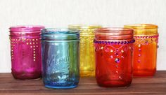How to Make Colored Mason Jars - very pretty and very easy for a great look. @Susan Hammond For the wine bottle