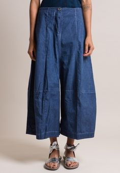 Gilda Midani Wide Leg Cotton Egg Pants in Deep Blue