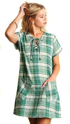 cded3df6a1331e UMGEE Women s Plaid Retro Vintage Short Sleeve Pockets Woven Shift Dress   Green   L