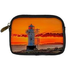#Seaside lighthouse and #orange #sunset padded digital camera case black leather,  View more on the LINK: http://www.zeppy.io/product/gb/2/361195808695/