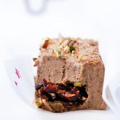 Taste Mag   Chicken-liver terrine with a pistachio-and-date centre @ http://taste.co.za/recipes/chicken-liver-terrine-with-a-pistachio-and-date-centre/