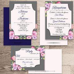 •The Sophia Collection•    Wedding Invite  Reception/Accommodation Card  Response Card    All watermarks (logo) will be removed at your first proof.  ………………………………………………………………………………………………………………...............................    •This listing is for a 5x7 Printable DIY Wedding Package Invitation. Fits