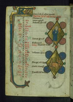 Book of Hours (Use of Liège), Man holding orange branches; Taurus, Walters Manuscript W.37, fol. 4v