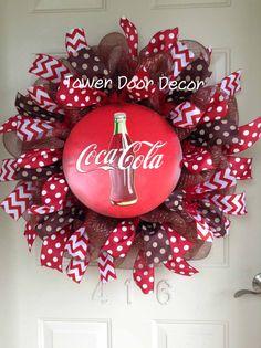Coca Cola Wreath by TowerDoorDecor on Etsy