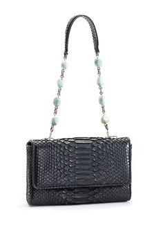 Python Mini Shoulder Bag from Darby's Facets & Links Collection. Linked amazonite nuggets and leather shoulder strap. Remove strap to carry as a clutch. Flat front mini handbag, leather lined & trimme
