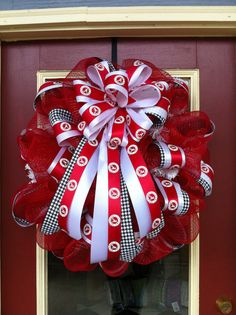 Alabama football wreaths and door decor | ... Large 26-inch Door Decor Wreath with Licensed Collegiate Team Ribbon